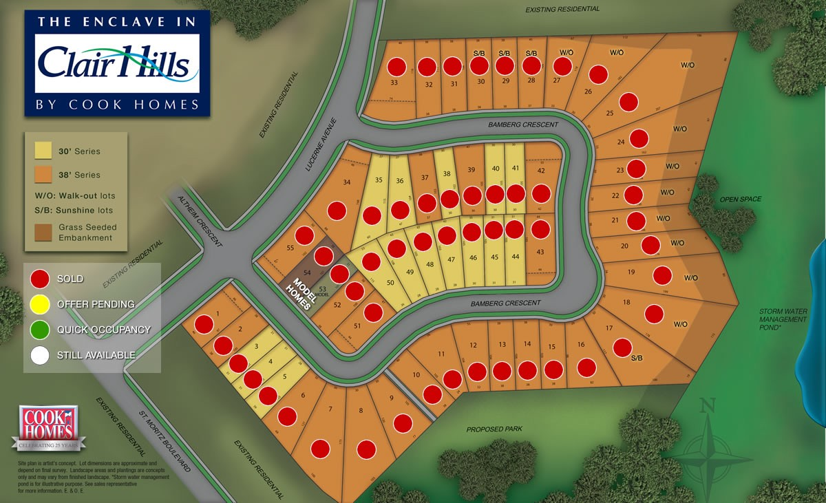 The Enclave in Clair Hills Siteplan