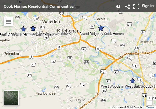 Map to Cook Homes Residential Communities